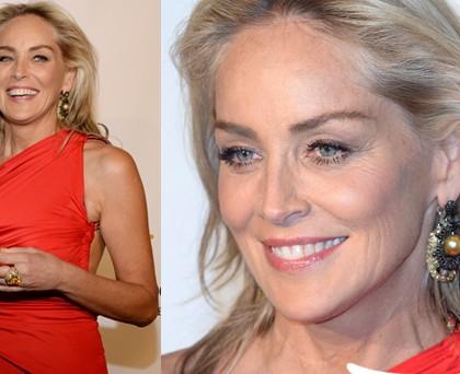 Sharon Stone abito Cavalli gioielli DeGrisogono