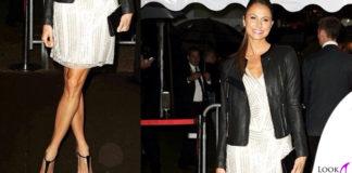 Stacy Keibler abito NaeemKhan giacca JBrandJeans scarpe Casadei