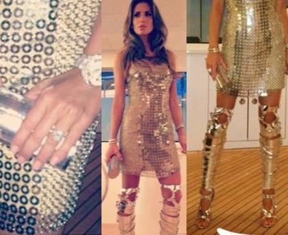 Claudia Galanti abito Versace sandali TomFord gioielli Cartier