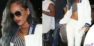 Rihanna top RiverIsland occhiali borsa bomber scarpe RobertoCavalli