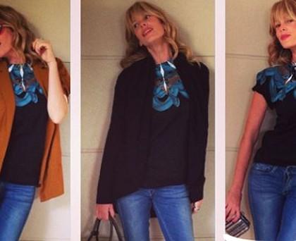 Alessia Marcuzzi maglia MarceloBurlon jeans Meltinpot borsa Prada