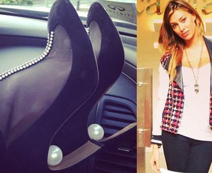 Belen Rodriguez borsa Prada scarpe NicholasKirkwood