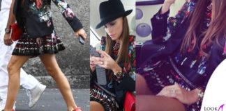Claudia Galanti abito giacca Cavalli sandali GiuseppeZanotti cappello Borsalino 2