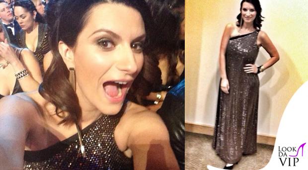 Laura Pausini abito Armani gioielli Iosselliani