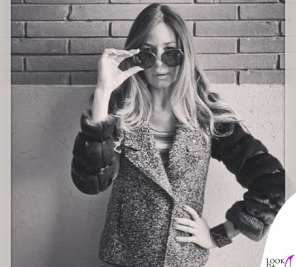 Alessia Fabiani giacca Custo Barcellona occhiali Montblanc