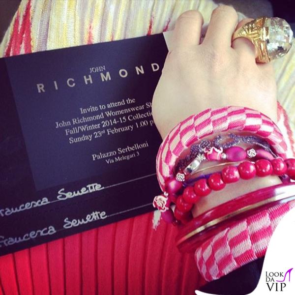 Francesca Senette sfilata John Richmond Milano Fashion Week abito Missoni 7