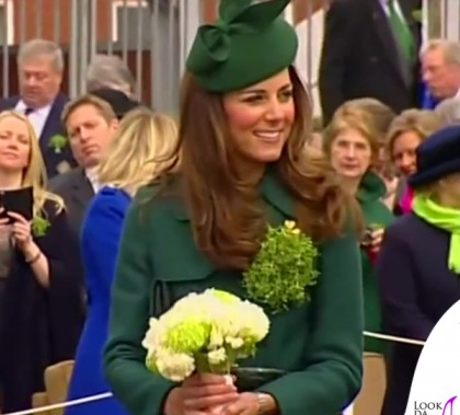 Kate Middleton St. Patrick's Day Parade cappotto Hobbs spilla Cartier cappello Gina Foster