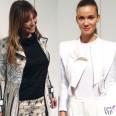 Tessa Gelisio trench Blumarine Fiammetta Cicogna giacca Blumarine scarpe Superga Milano Fashion Week