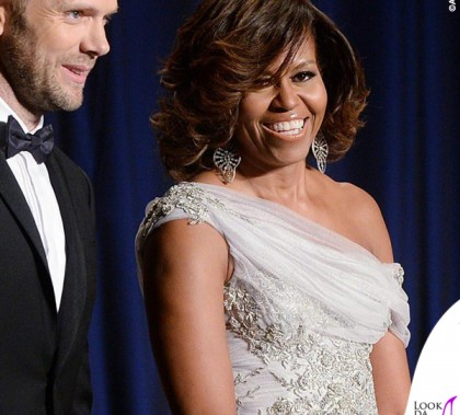 Joel McHale Michelle Obama 100th Annual White House Correspondent's Association Gala abito Marchesa 2