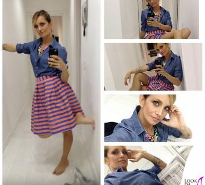 Katia Pedrotti La vita in diretta camicia gonna Parosh