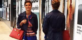 Martina Colombari abito Alberta Ferretti primavera estate 2014 borsa Hermès Birkin