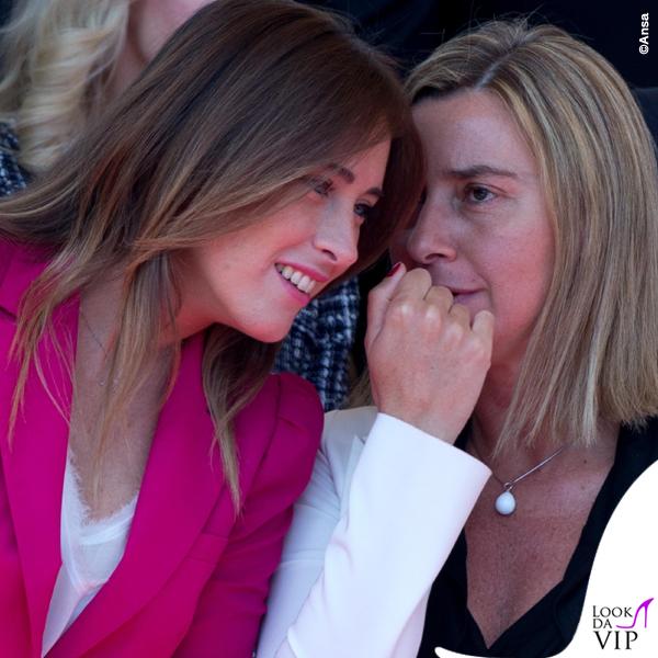 Maria Elena Boschi Federica Mogherini festa della Repubblica tailleur Zara collana Swarovski 2