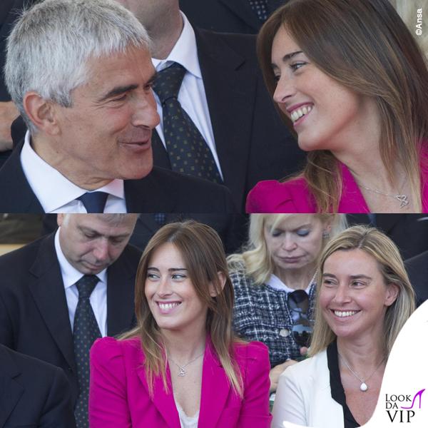 Maria Elena Boschi Pier Ferdinando Casini Federica Mogherini festa della Repubblica tailleur Zara collana Swarovski