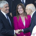 Pier Ferdinando Casini Maria Elena Boschi Giorgio Napolitano festa della Repubblica tailleur Zara collana Swarovski 2