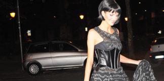 Cristina De Pin Tacco 12 abito Byblos scarpe Baldinini 9