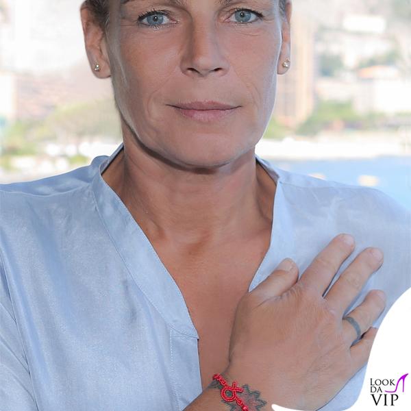Stéphanie di Monaco braccialetto Cruciani C Fiocco Rosso