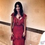Laura Pausini The Voice abito Alberta Ferretti scarpe Alberto Moretti collana Reminiscence Paris