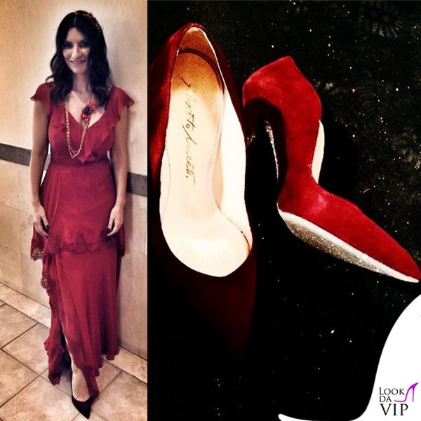 Laura Pausini The Voice abito Alberta Ferretti scarpe Alberto Moretti collana Reminiscence Paris 2
