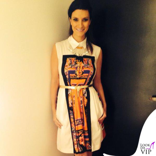 Laura Pausini The Voice abito Alberta Ferretti scarpe O Jour collana Liat Ginzburg 3