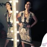 Laura Pausini The Voice abito Roberto Cavalli scarpe Gianmarco Lorenzi gioielli Reminiscence Paris Sharra Pagano 2