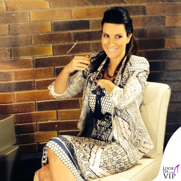 Laura Pausini The Voice abito Roberto Cavalli scarpe Gianmarco Lorenzi gioielli Reminiscence Paris Sharra Pagano 3