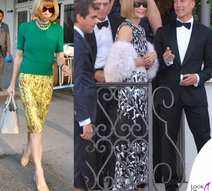 Anna Wintour borsa Victoria Beckham scarpe Manolo Blahnik abito Chanel Venezia Clooney Wedding