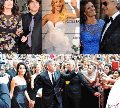 Celebrity Fight Night Firenze Laura Pausini Paolo Carta Michelle Hunziker Veronice Andrea Bocelli George Clooney Amal