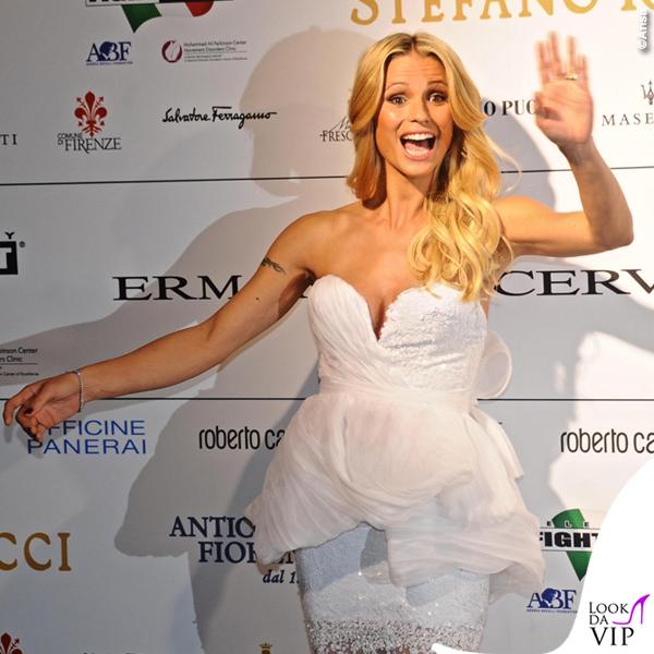 Celebrity Fight Night Firenze Michelle Hunziker abito Ermanno Scervino