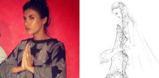 Elisabetta Canalis abito Vivienne Westwood bozzetto abito da sposa Alessandro Angelozzi