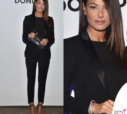 Ilaria D'Amico MFW smoking Dondup borsa Versace