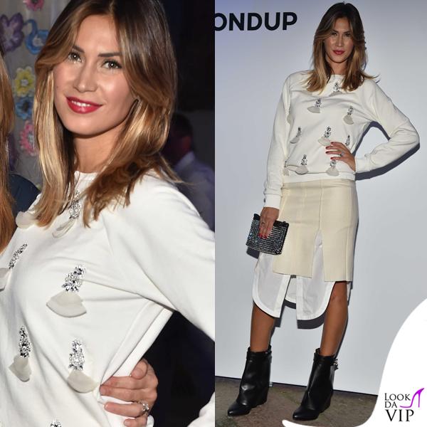 Melissa Satta MFW maglia gonna Dondup scarpe Givenchy