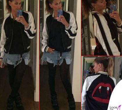 Melissa Satta giacca Saint Laurent stivali Isabel Marant