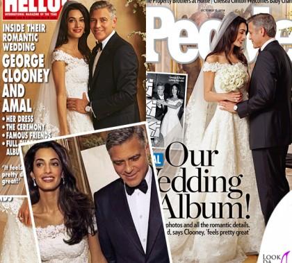 George Clooney abito Armani Amal Alamuddin abito Oscar de la Renta Wedding