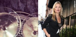 Kate Moss giacca Bella Freud pantaloni Saint Laurent scarpe Loubutin borsa Bulgari