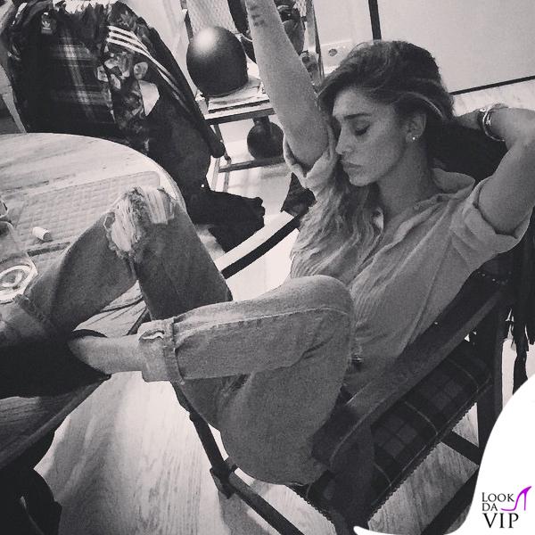 Petiti Bistro Belen Rodriguez giacca Caban Romantic jeans Levis borsa Celine 3