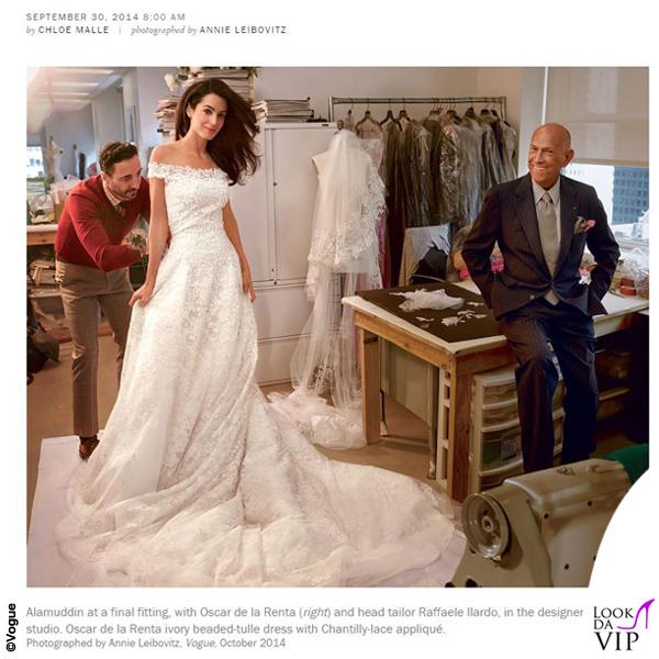 Vogue Amal Alamuddin Oscar De La Renta fitting Clooney Wedding