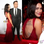 Megan Fox Ferrari abito Versace clutch Edie Parker