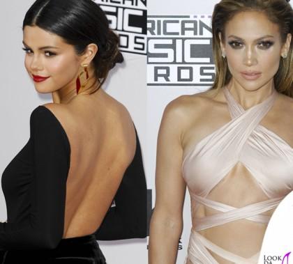 AMA14 Selena Gomez abito Giorgio Armani Privè Jennifer Lopez abito Reem Acra