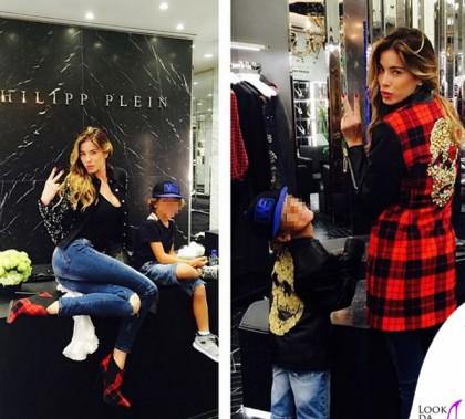 Aida Yespica cappotto giacca stivaletti Philipp Plein