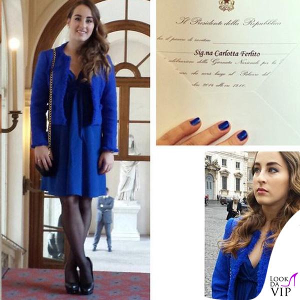 Carlotta Ferlito abito giacca Federica Pittaluga scarpe Diesel pochette Prada 6
