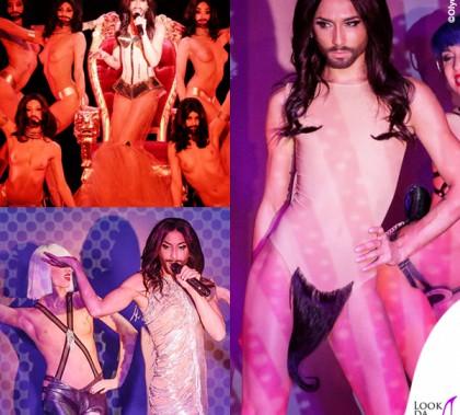 Conchita Wurst Crazy Horse abiti Jean Paul Gaultier scarpe Louboutin