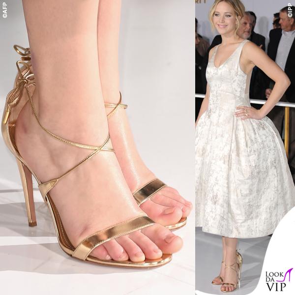Jennifer Lawrence Hunger Games abito Dior scarpe Aquazzurra gioielli Anita Ko Vita Fede clutch Roger Vivier 10