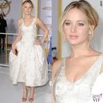 Jennifer Lawrence Hunger Games abito Dior scarpe Aquazzurra gioielli Anita Ko Vita Fede clutch Roger Vivier 11