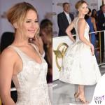 Jennifer Lawrence Hunger Games abito Dior scarpe Aquazzurra gioielli Anita Ko Vita Fede clutch Roger Vivier 3