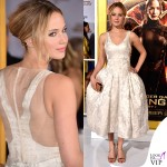 Jennifer Lawrence Hunger Games abito Dior scarpe Aquazzurra gioielli Anita Ko Vita Fede clutch Roger Vivier 8