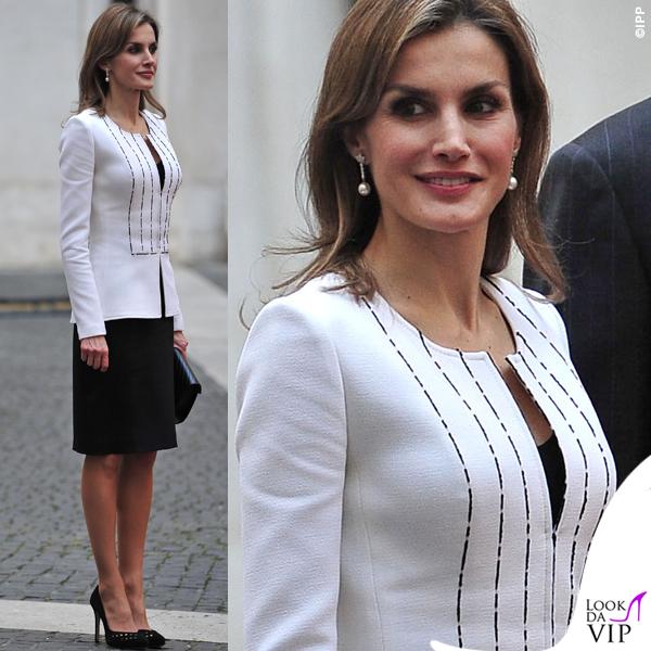 Letizia Ortiz Roma abito giacca pochette Felipe Varela 2