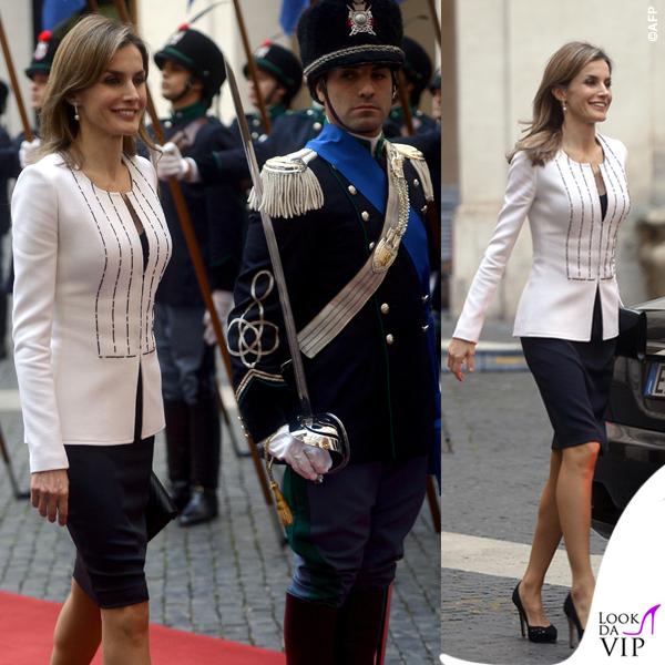 Letizia Ortiz Roma abito giacca pochette Felipe Varela 6