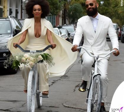 Matrimonio Ferguson Solange Knowles tuta Stephane Rolland sandali Stuart Weitzman