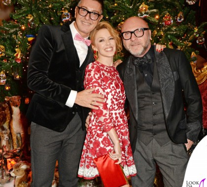 Stefano Gabbana Kylie Minogue Domenico Dolce Claridge's Christmas Tree 2014 Londra By Dolce&Gabbana