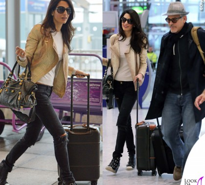 Amal Alamuddin giacca Alexander McQueen scarpe Ash borsa Balenciaga George Clooney